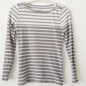 J. Crew Artist T Long Sleeve in Gray White Small
